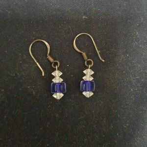 Blue and clear drop earrings